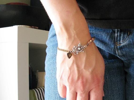 Beaded Filigree Bracelet Brass Heart Charm Copper Pink Czech Glass Beads Silver Filigree Minimalist Modern Antique Brass Chain Mixed Metals