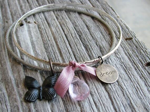 Charm Bangle Bracelets Upcycled Vintage Nature Inspired Metal Black Brass Butterfly Glass Briolette Charm Acrylic Teardrop Bead Bracelets