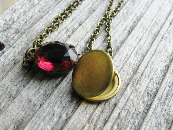 Glass Jewel Bracelet Vintage Cut Glass Jewel Pink Gem Vintage Brass Locket Antique Brass Chain
