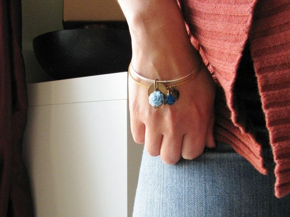 Flower Charm Bangle Bracelets Blue Acrylic Cabochon Heart Button Botanical Jewelry Garden Inspired Upcycled Vintage Czech Glass Bead