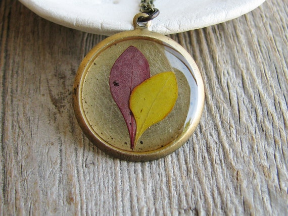 Real Pressed Leaf Necklace Botanical Jewelry Pressed Barberry Leaves Resin Antique Brass Nature Inspired