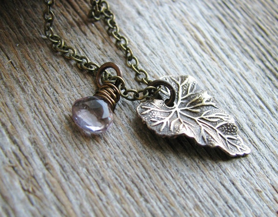 Briolette Leaf Necklace Amethyst Briolette Woodland Leaf Nature Inspired Botanical Jewelry