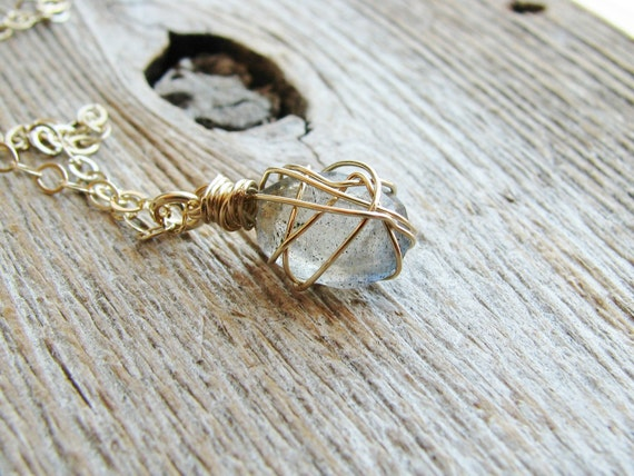 Labradorite Wrapped Necklace 14kt Gold Filled Chain Wire Wrapped Stone Minimalist Modern Jewelry