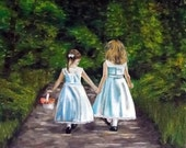 Hand in Hand - Giclee of Original Oil Painting - 8x8 Stretched Canvas