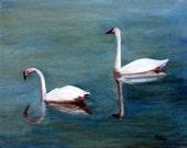 Swan Painting, Swans, Trumpeter Swans, Original Oil Painting, Goose Painting, Geese, White Swan, Duck, Helen Eaton