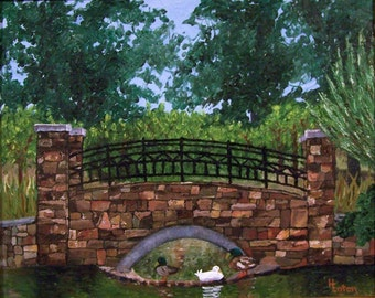 Park Painting, Bridge Painting, Duck Painting, Rock Bridge, Painting of Bridge,  Original Oil Painting, Framed, Helen Eaton