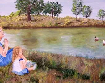 Feed the Ducks - Giclee of Original Oil Painting on 12x24 Gallery Wrapped Canvas