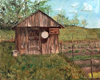 Grandpa's Smokehouse - Giclee of Original Oil Painting on 8x10 Wrapped Canvas