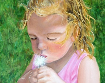Blow on It - Giclee of Original Oil Painting - 8x10 Stretched Canvas