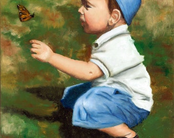 Boy and Butterfly, Toddler Boy, Baseball Cap, Print on Canvas, Giclee of Original Painting, Butterfly Art, Monarch, Helen Eaton