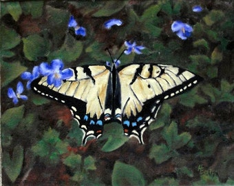 Butterfly Painting, Butterfly Art, Yellow Butterfly, Violets, Original Oil Painting, Small Canvas, Helen Eaton