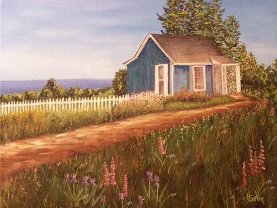 Cottage by the Sea- Giclee of Original Oil Painting on 16x20 Gallery Wrapped Canvas