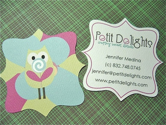 Fancy business cards unique shaped cards by treasuresinink for Odd shaped business cards