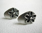 Small Silver Earrings - Shield Stud Earrings