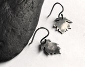 Black Leaf Earrings - Handmade Small Silver Hook Earrings