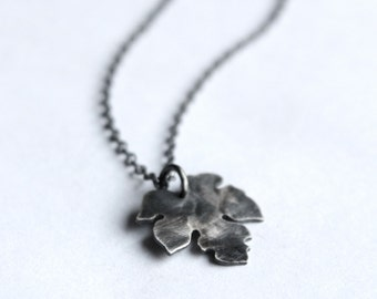 Small leaf Necklace - Handmade Black Silver Necklace with a Little Leaf Charm