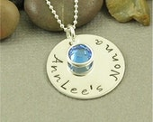 Personalized Hand Stamped Grandma Sterling Silver Necklace with Birthstone