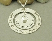 Family Necklace Hand Stamped Sterling Silver Personalized