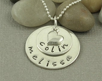 Personalized 2 Stack Name Necklace Hand Stamped Sterling Silver