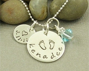New Baby Mommy Necklace, Personalized Hand Stamped Jewelry, Mother Sterling Silver Necklace