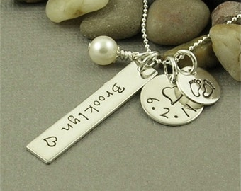 New Mom Necklace, Personalized Necklace, Hand Stamped Jewelry, Sterling Silver Necklace