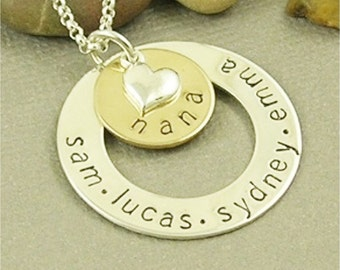 Nana Necklace, Hand Stamped Grandma Jewelry, Personalized Jewelry, Sterling Silver Mom Necklace