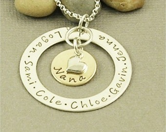 Personalized Nana Necklace, Hand Stamped Grandma Jewelry, Sterling Silver Name Jewelry, Personalized Jewelry
