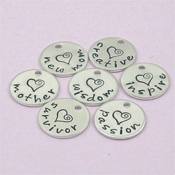 One Charm Words Names Hand Stamped Sterling Silver