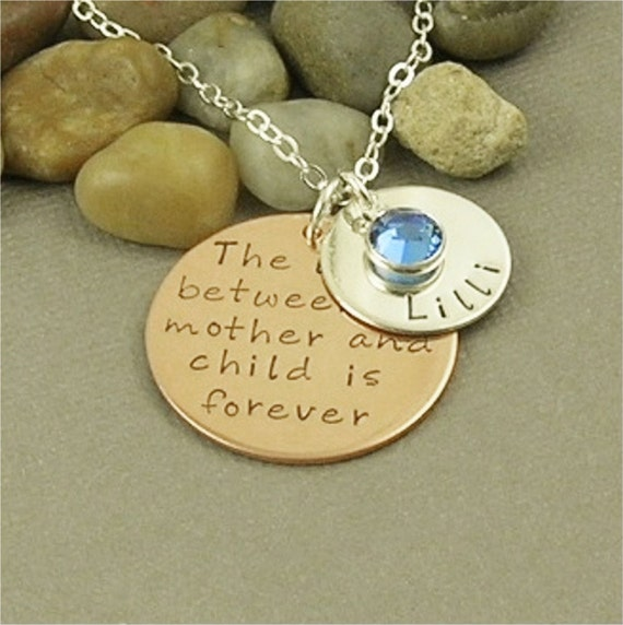 Personalized Hand Stamped Mother & Child, 2-tone, Mixed Metal, Sterling Silver Copper Hand Stamped Jewelry