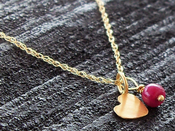 ON SALE - 18k Gold Necklace With a Tiny Ruby Bead and a Heart Pendant