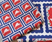 MARTHAS VINEYARD SOUVENIR RED WHITE BLUE ORGANIC FABRIC Original Design Fat Quarter