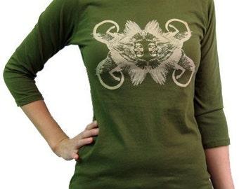 Winged Monkeys / Women's Boatneck 3/4 sleeve / Olive