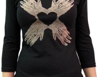 Monkey Paw Heart / Women's Boatneck 3/4 sleeve / Black