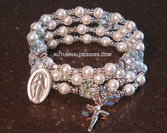 WHITE 5-Decade Rosary Wrap Bracelet, Swarovski Pearl, Sterling Silver BEST SELLER