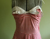 1950s Red and White Gingham Summer Dress S/M