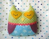 Plush Owl in Blue Floral