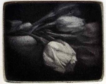 "Original art print ""Bouquet"" Mezzotint 4x5 cm"