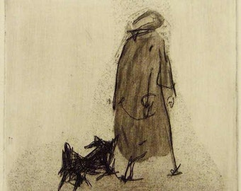 "Original art print ""All Weathers"". Etching. 10x10 cm. Old lady walking a dog."