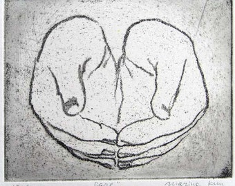 "Original art print ""Care"" from a series ""Hands"". Etching. Edition of 100."