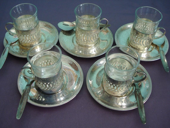 Lot of 5 Demi Tasse Cups, Saucers and Spoons