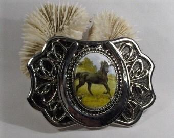 Black Stallion Cameo Black and Silver Horseshoe Buckle