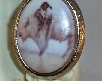 Beautiful Sacred White Buffalo Cameo Silver Locket Necklace