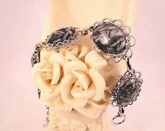 Beautiful Chinese Writing Gemstone Silver Bracelet