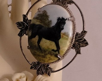 Black Stallion Cameo Silver Necklace