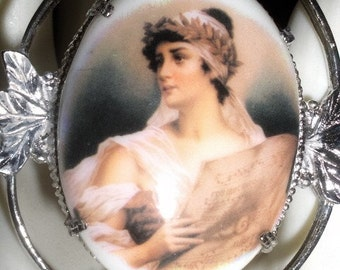 Lonely Maiden Cameo Necklace and Earring Set