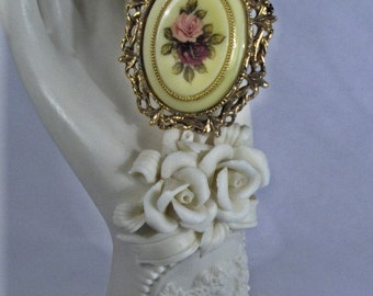 Victorian Burgundy/Pink Rose Cameo Pendant/Brooch/Necklace