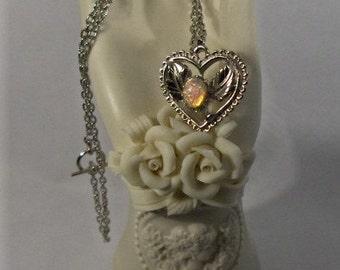 Lovely Harlequin Glass Opal Filigree Heart Necklace