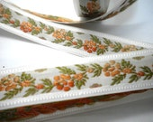 CLEARANCE SALE  50 discount Floral Jacquard Ribbon Trim, Orange Flowers ,per yard, Sewing Trim and  Tapes,Craft Supplies, Floral Supplies,