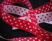 Holiday Ribbons Vivid Red Polka dot Jacquard Ribbon 1meter ,1.09 yard
