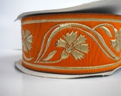 Orange and Gold Carnation Jacquard Ribbon Trim,35mm Jacquard Ribbon Trim , Garment, Costume, Craft , Ribbon Trim ,  Embroidered Sari Border